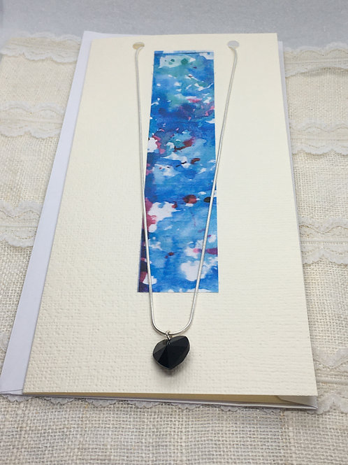 Jet Black Crystal Heart Necklace on Greetings Card