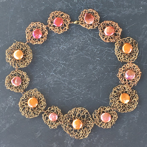 Crocheted Bronze Wire and Freshwater Pearl Necklace