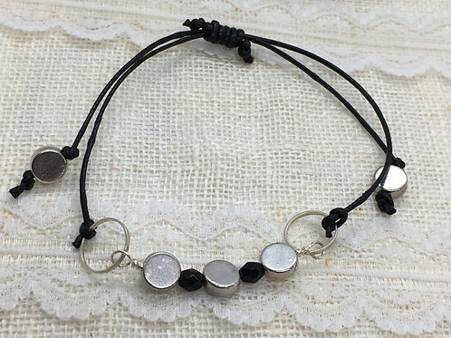 Black and silver slider bracelet