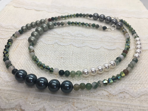 agate patchwork necklace in green