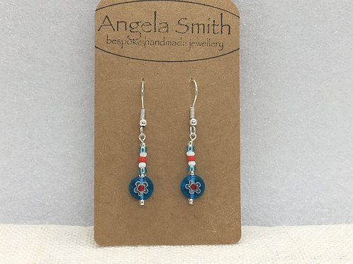 Blue red and white millefiori earrings