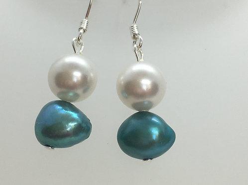 teal freshwater pearl and glass pearl earrings