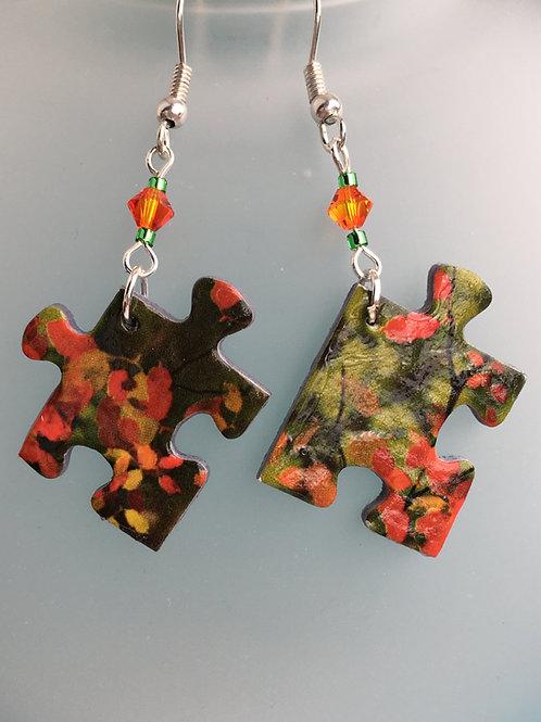 Orange autumn jigsaw puzzle earrings