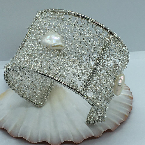 Knitted Wire and Fresh Water Pearl Cuff