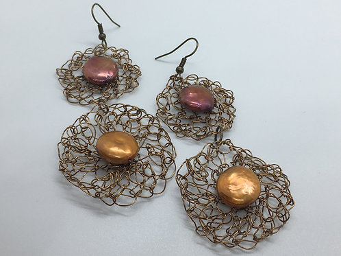 Crocheted Bronze Wire and Freshwater Pearl Earrings