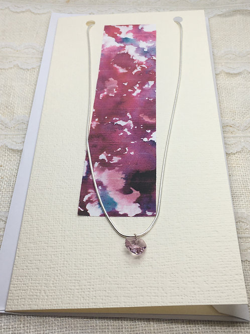 Pale Rose Crystal Heart Necklace on Greetings Card