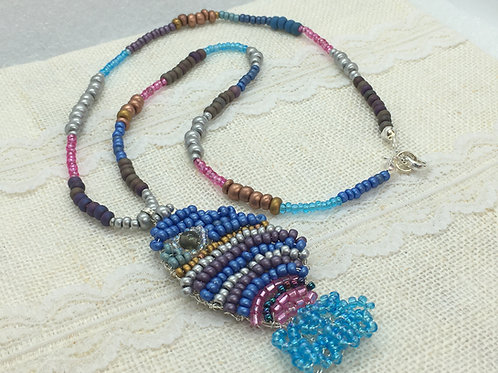 Knitted fish pendant on beaded chain
