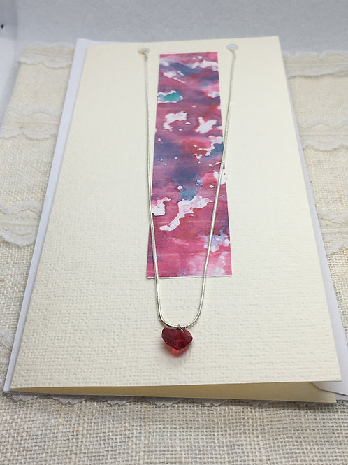 Dark Red Crystal Heart Necklace on Greetings Card
