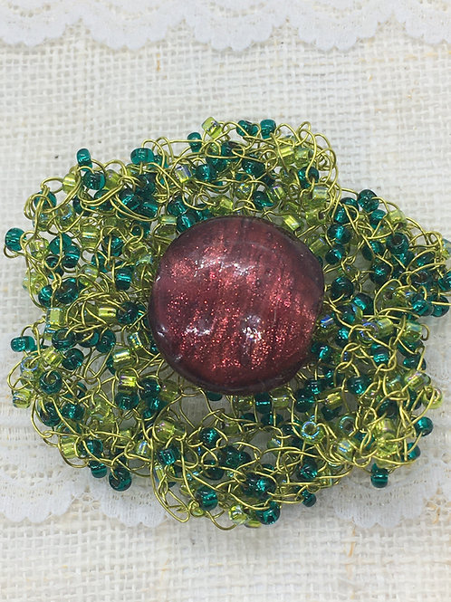 Knitted Russet and Green Flower