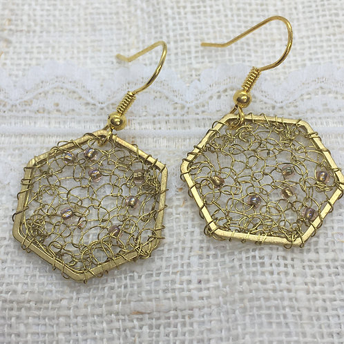 Crocheted haxagonal earrings