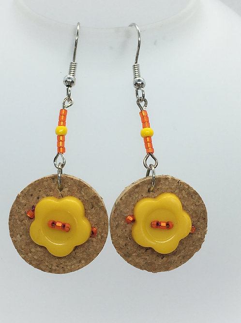 yellow button and wine cork earrings