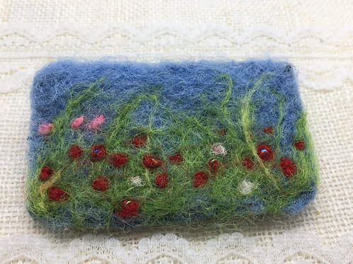 Needle felted flower meadow brooch