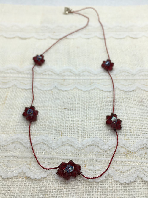 Dark red and blue crystal flower chain