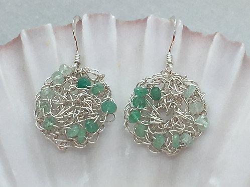 Crocheted Emerald Earrings