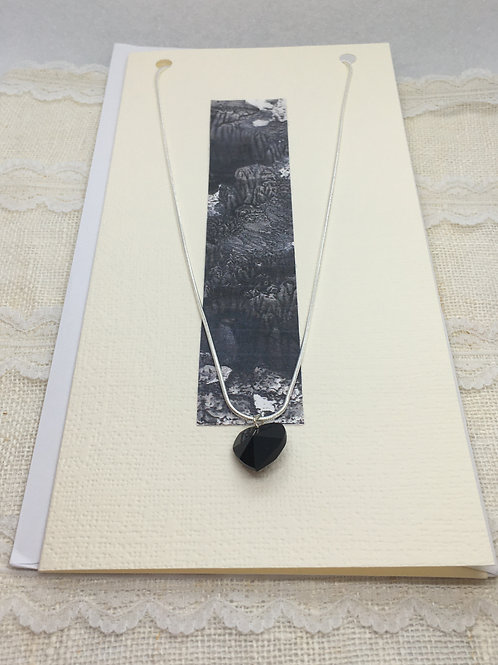 Black Crystal Heart Necklace on Greetings Card