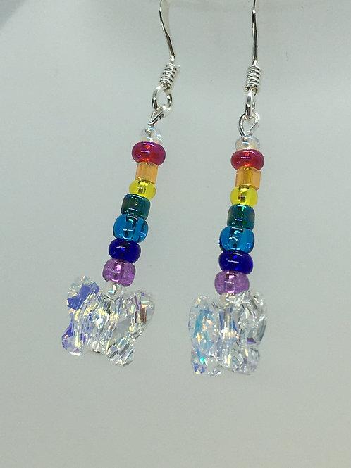 Crystal butterfly rainbow earrings