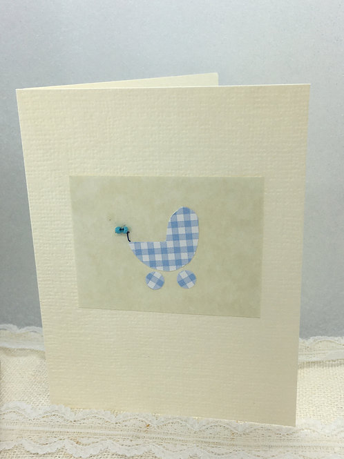 Blue Pram - Birth Congratulations Card