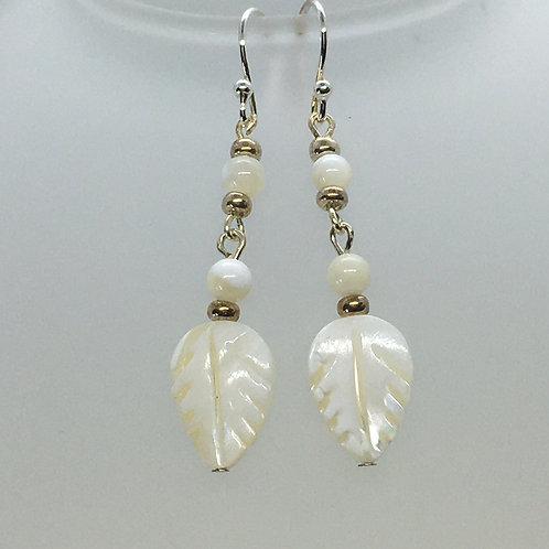 Mother of Peal Leaf Earrings