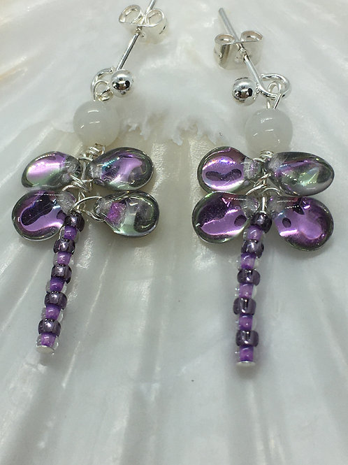 lilac dragonfly earrings