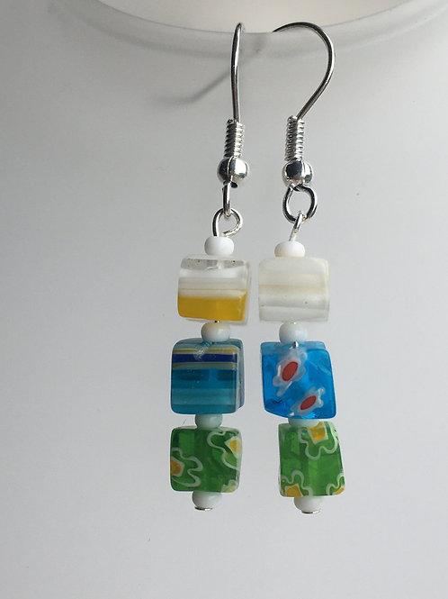 """green, blue and white """"allsorts"""" earrings"""