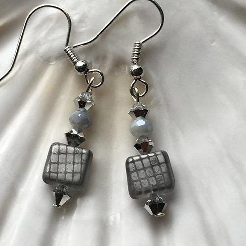 Grey Square Earrings