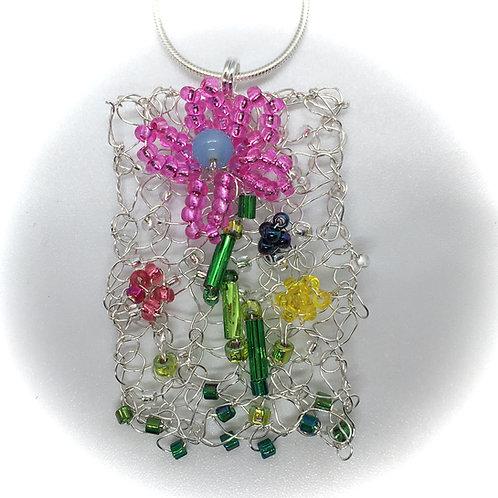 Knitted Flower Garden Pendant