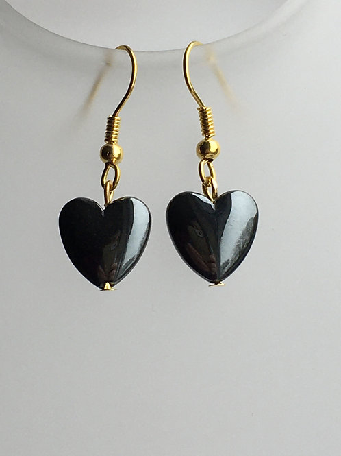 large hematite heart earrings
