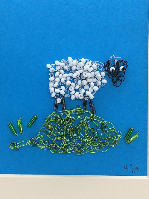 Crocheted sheep picture (portrait)