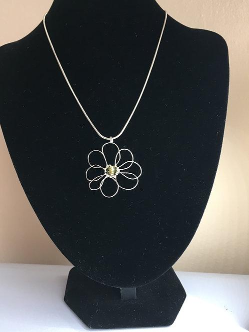 Small olive green daisy pendant