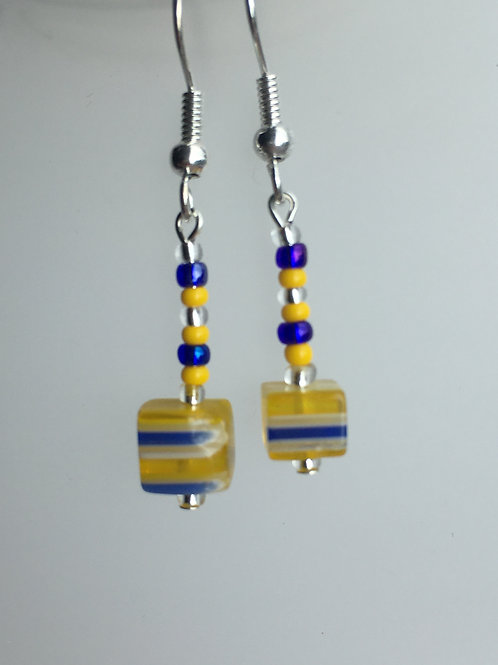 """yellow and blue """"Allsorts"""" earrings"""