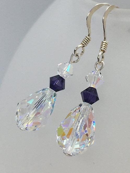 Purple on ice drop earrings