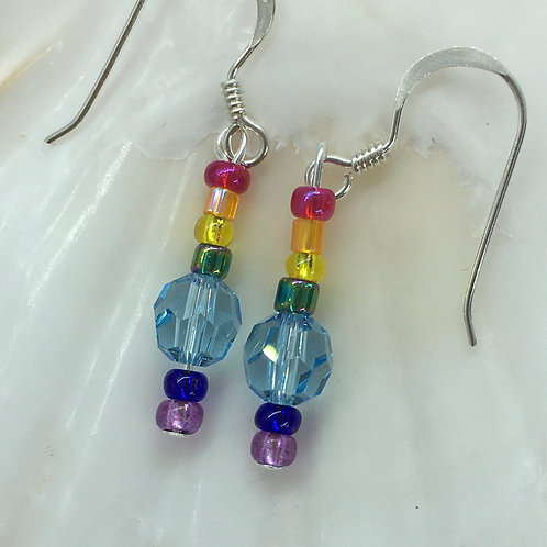 Azure Blue Crystal Rainbow Earrings