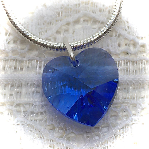 Sapphire Blue Crystal Heart Necklace