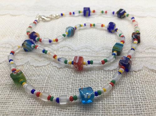 """""""Allsorts"""" cube millefiori necklace"""