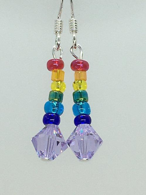 Violet Crystal Rainbow Earrings