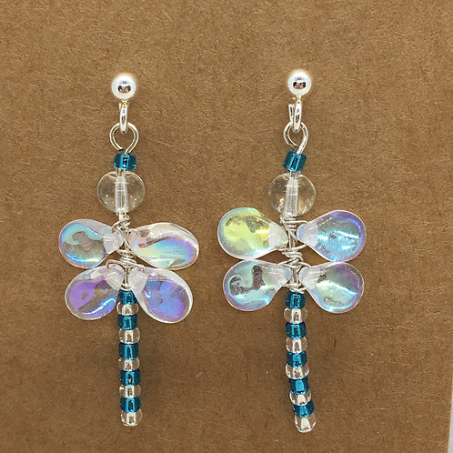 Blue and Silver Dragonfly Earrings