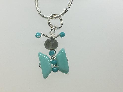 Aqua butterfly pendant