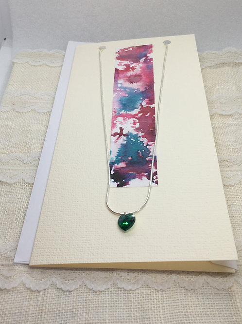 Emerald Crystal Heart Necklace on Greetings Card