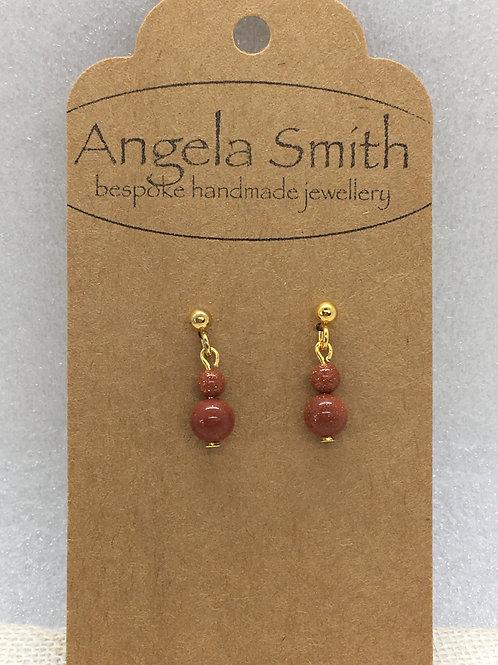 Duo brown goldstone earrings