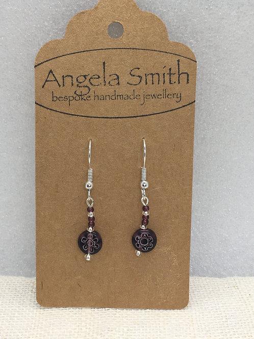 Mauve glass bead earrings