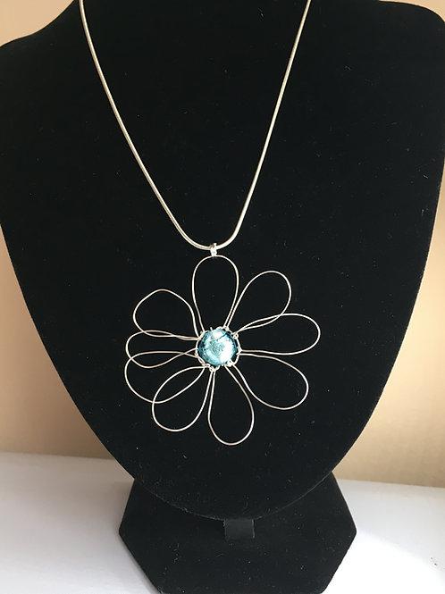 turquoise daisy pendant