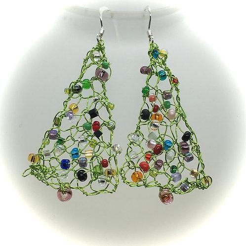 knitted Christmas tree earrings