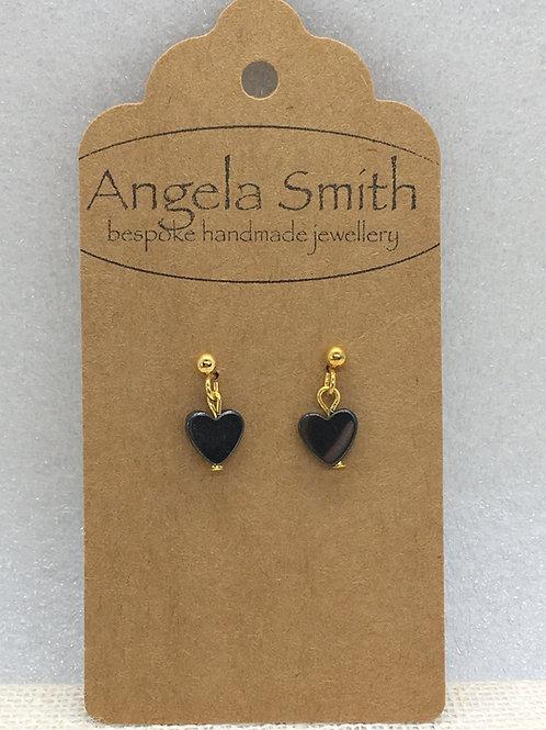 small hematite heart earrings
