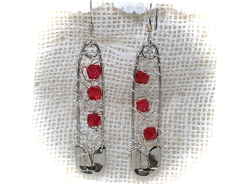 Red Crocheted Safety Pin Earrings