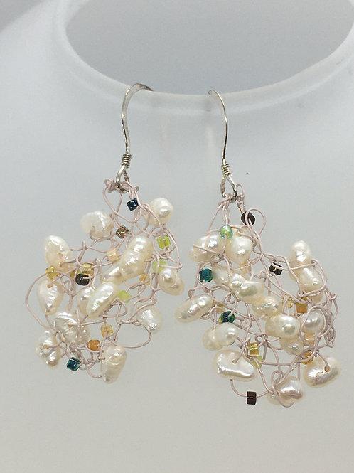 "Knitted Freshwater Pearl ""Nebula"" Earrings"