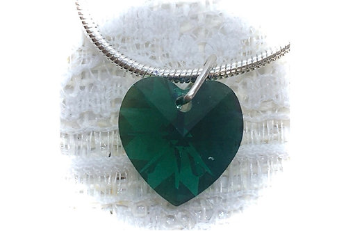 Emerald Crystal Heart Necklace