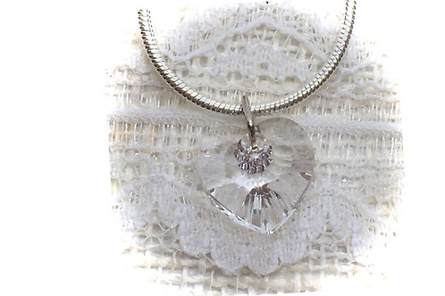 Clear Crystal Heart Necklace