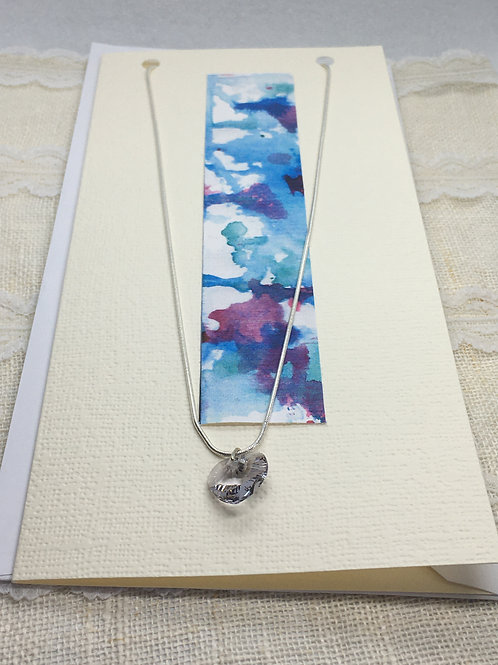 Pale Grey Crystal Heart Necklace on Greetings Card