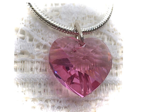 Rose Pink Crystal Heart Necklace