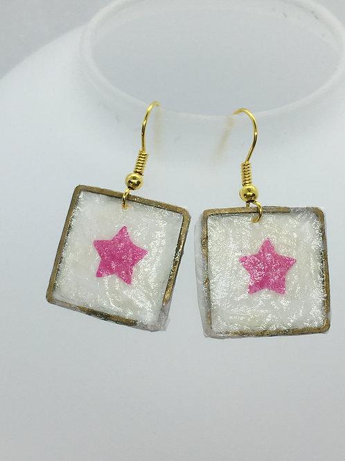 white square tissue earrings